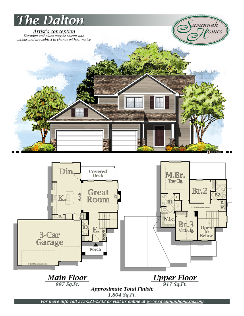 Dalton floorplans savannah homes iowa home builder for Iowa home builders floor plans