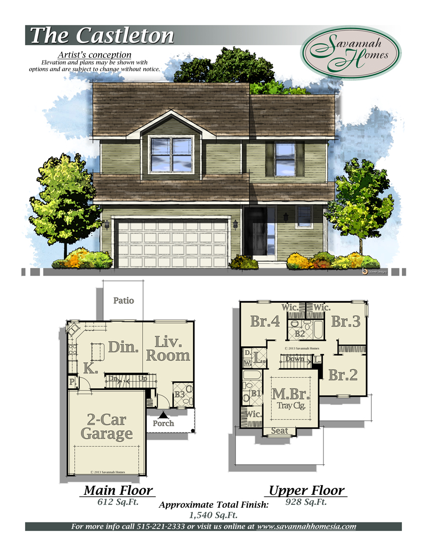 Castleton floorplans savannah homes iowa home builder for Iowa home builders floor plans