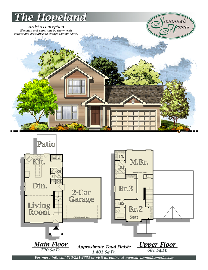 Hopeland floorplans savannah homes iowa home builder for Iowa home builders floor plans