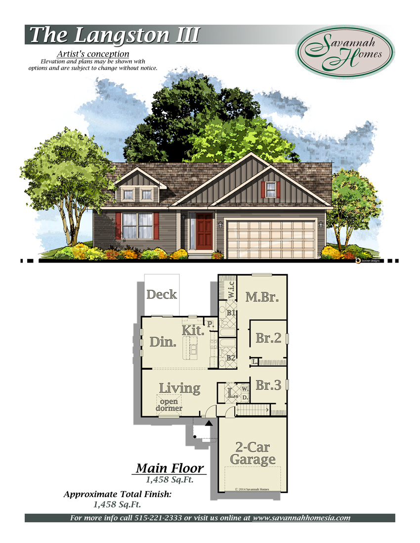 Langston iii floorplans savannah homes iowa home builder for Iowa home builders floor plans