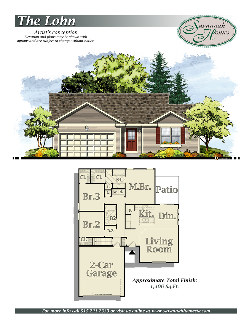 Lohn floorplans savannah homes iowa home builder for Iowa home builders floor plans