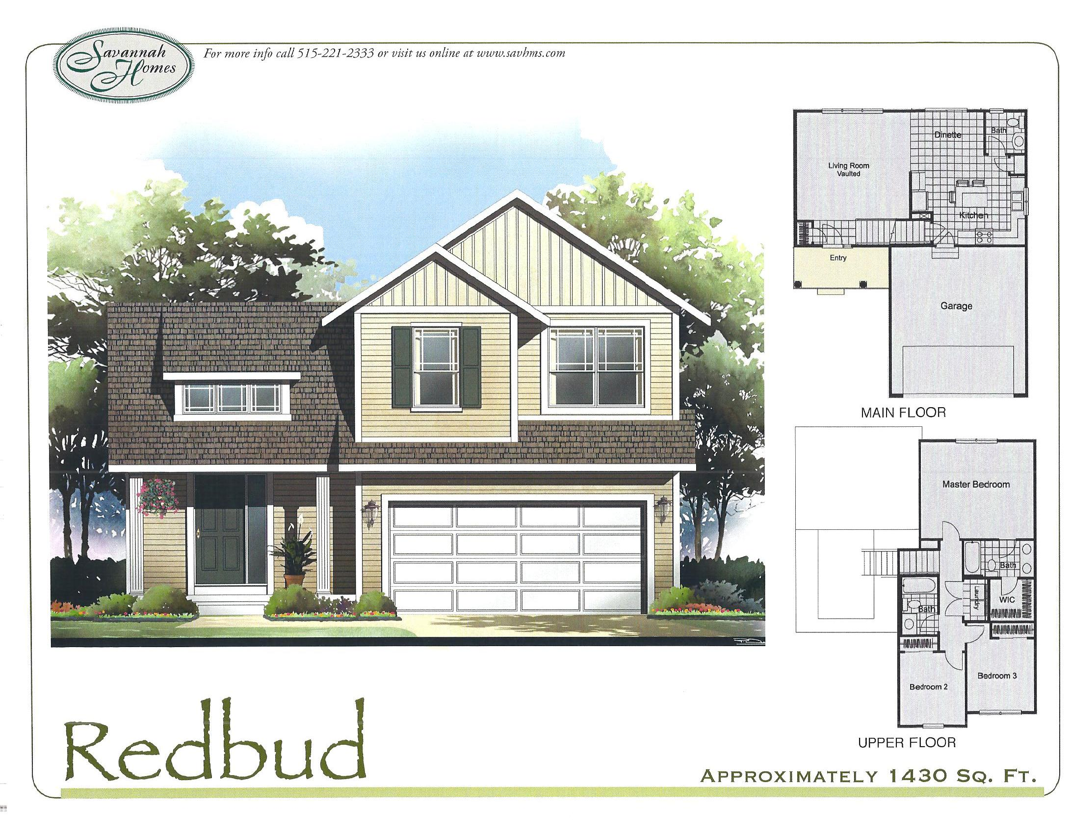 Redbud floorplans savannah homes iowa home builder for Iowa home builders floor plans