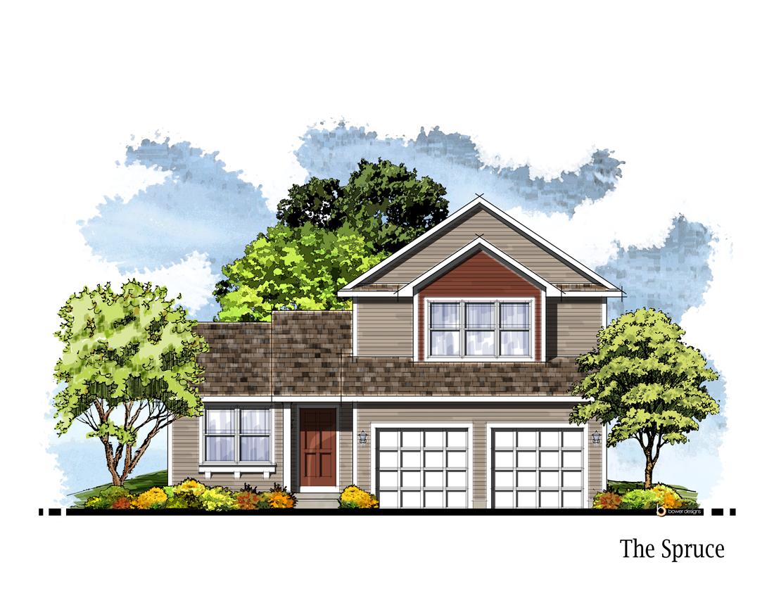 Spruce elevation savannah homes iowa home builder for Iowa home builders
